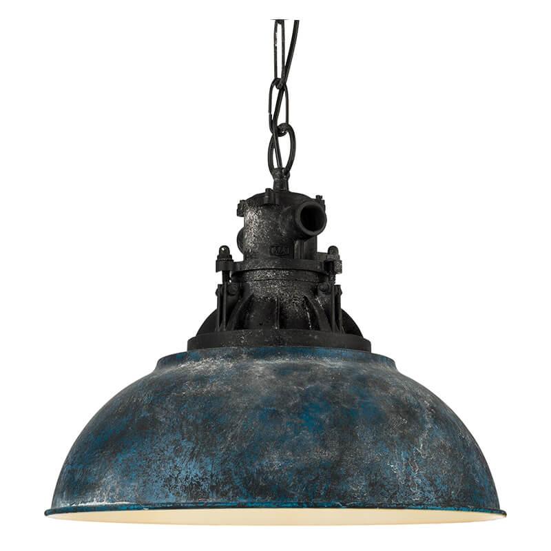 Grantham Hanglamp Staal Kunststof Blauw Antiek Zwart - 2